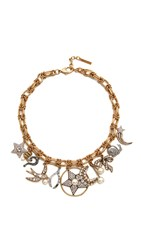 Marc Jacobs Crystal Charm Statement Necklace Cream Antique Gold