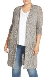 Caslonr Plus Size Women's Caslon Open Stitch Long Cardigan Olive Tarmac Marl
