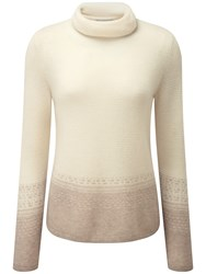 Pure Collection Aimee Fairisle Cashmere Jumper Natural White Taupe