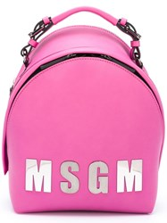 Msgm Logo Front Backpack Pink Purple