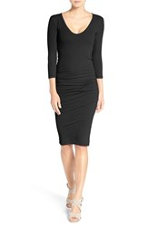 James Perse Women's V Neck Ruched Dress Black