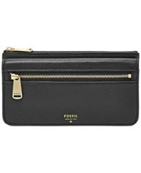 Fossil Preston Leather Flap Clutch Wallet Black