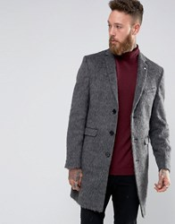 Noose And Monkey Faux Pony Skin Overcoat In Charcoal Charcoal Grey