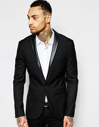 Asos Skinny Fit Blazer With Pu Lapel In Black Black