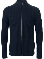Eleventy Ribbed Zipped Cardigan Blue