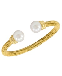 Majorica Bracelet Organic Man Made Pearl And Gold Tone Stainless Steel Bangle Bracelet