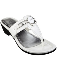 Marc Fisher Amina Thong Sandals Women's Shoes White Patent