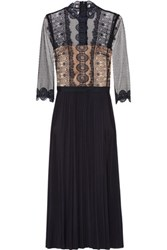 Catherine Deane Frances Lace And Pleated Satin Midi Dress Midnight Blue