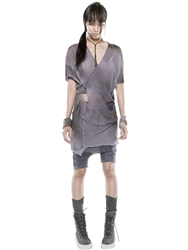 Demobaza Linen Knit Wrap Dress Grey