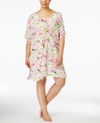 Hue Plus Size Butterfly Print Caftan White