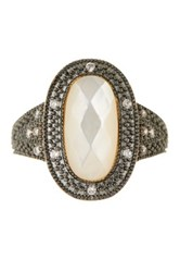 Freida Rothman 14K Gold Plated Sterling Silver Cz Mother Of Pearl Ellipse Ring Black