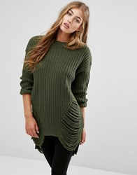 Missguided Distressed Jumper Olive Green