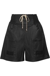Rick Owens Stretch Leather And Cotton Blend Shorts Black
