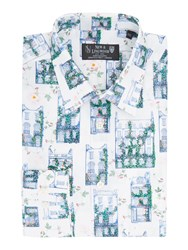 New And Lingwood Regent Print Shirt White