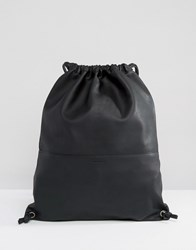 Sandqvist Jenny Soft Leather Drawstring Backpack Black