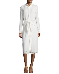 Ralph Lauren Collection Silk Georgette Tie Waist Shirtdress Ivory
