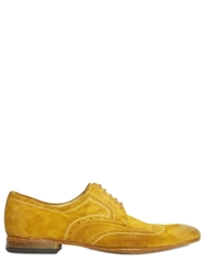 Calzoleria Toscana Washed Suede Brogue Derby Lace Up Shoes Yellow