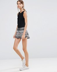 Vero Moda Blue Floral Print Short Neon Orange