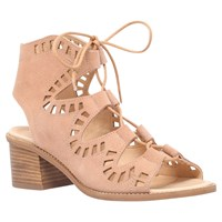 Carvela Cut Out Lace Up Mid Block Heeled Sandals Nude Suede
