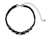 Rebecca Minkoff Arrows And Stone Charms On Braided Leather Choker Necklace Gunmetal Crystal Necklace Multi