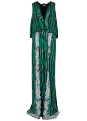 Mary Katrantzou Wave Print Crepe De Chine Gown Green