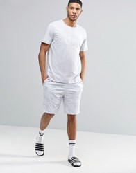 Asos Loungewear Skater T Shirt And Jersey Shorts Set With Marble Print Grey