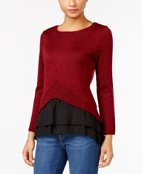 Ny Collection Petite Metallic Layered Look Sweater