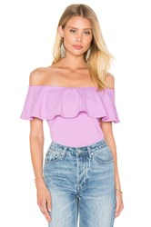 Susana Monaco Ruffle Off Shoulder Top Purple