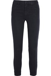J Brand Anja Cropped Stretch Sateen Skinny Pants Navy