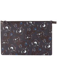 Salvatore Ferragamo Motorcycle Printed Clutch Blue