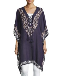 Saffire Sequined Lace Up Tunic Navy