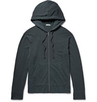 James Perse Garment Dyed Loopback Supima Cotton Jersey Zip Up Hoodie Petrol