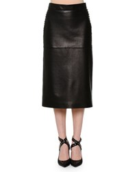 Valentino Leather Pencil Skirt W Studded Sides Black