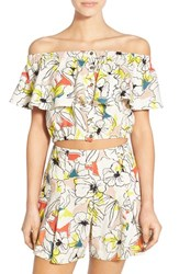 Women's Astr 'Rosa' Off The Shoulder Linen And Cotton Crop Top Bright Multi Floral