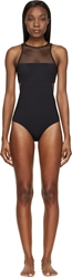Alexander Wang Black Mesh And Matte Tricot One Piece Swimsuit