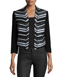 Haute Hippie Embellished Cropped Blazer Topper Black