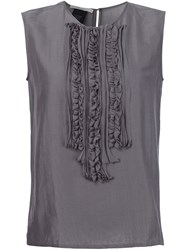 Lareida Ruffled Bib Top Grey
