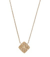 Michael Kors Pave Gold Tone Pyramid Pendant Necklace