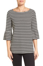 Pleione Women's Stripe Knit Bell Sleeve Top Black White Stripe