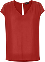 Soaked In Luxury V Neck Top With Embellished Shoulders Red