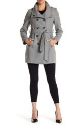 Dkny Double Breasted Stand Collar Wool Blend Trench Coat Gray