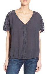 Women's Caslon Lace Trim V Neck Gauze Boho Top Grey Ebony