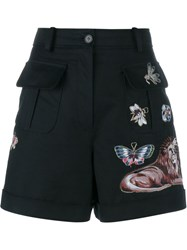 Valentino Embroidered A Line Wool Shorts Black