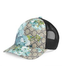 Gucci Gg Blooms Baseball Hat Dark Brown Blue