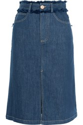 See By Chloe Frayed Denim Skirt Dark Denim