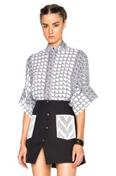 Kenzo Houndstooth Stripe Georgette Blouse In White Geometric Print