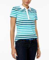 Tommy Hilfiger Sarah Striped Polo Top Everglade Lake Blue
