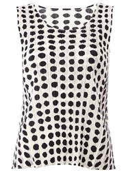 Pleats Please By Issey Miyake Polka Dot Pleated Top Black