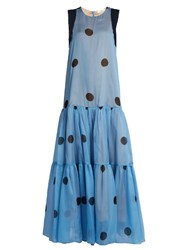 Natasha Zinko Polka Dot Print Silk Chiffon Dress Blue Multi