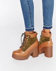 Eeight Wallis Lace Up Platform Heeled Ankle Boots Tan Olive